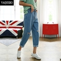 Vintage Boyfriend Jeans For Women 2016 Casual Mid Waist Ripped Holes No Stretch Loose Denim Short Pants Woman Ankle Jeans