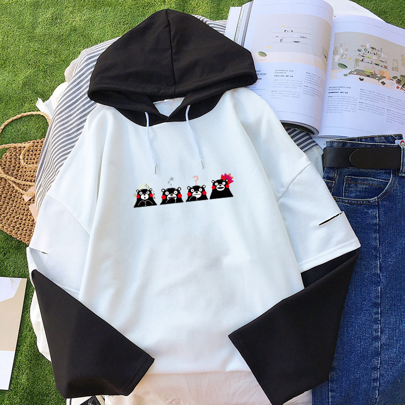Women Casual Hoodies Kpop Harajuku Kawaii Kumamon Bear Printed Sweatshirt Contrast Color Clothes Sudadera Mujer Hoodie