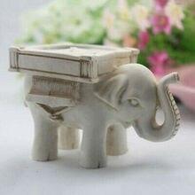 Candelero para lamparilla de elefante Retro, cerámica marfil, decoración para el hogar, boda o boda