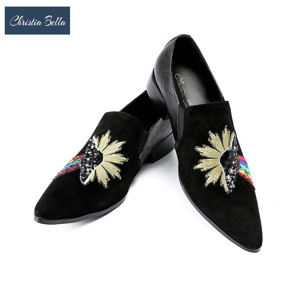 Chaussures De Pantoufles on Conception Slip Bling Mocassins Luxe Brodé Velours Hommes Casual Appartements Robe Noir Floral Bella Christia RwqXFHF