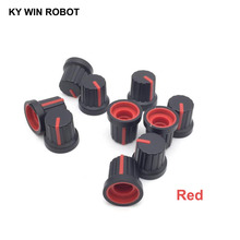 New 10 Pcs Red 6mm Shaft Hole Dia Plastic Threaded Knurled Potentiometer Knobs Caps