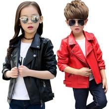 Весенне-осеннее детское кожаное пальто для мальчиков и девочек, красного и черного цвета, крутые Куртки из искусственной кожи для девочек, модная верхняя одежда