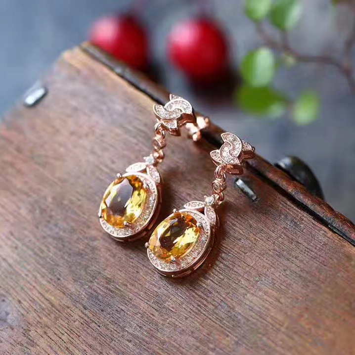 Round Natural Citrine Earrings Jewelry Pure 925 Sterling Silver Weddings Fine Stud Earrings for Women GiftRound Natural Citrine Earrings Jewelry Pure 925 Sterling Silver Weddings Fine Stud Earrings for Women Gift