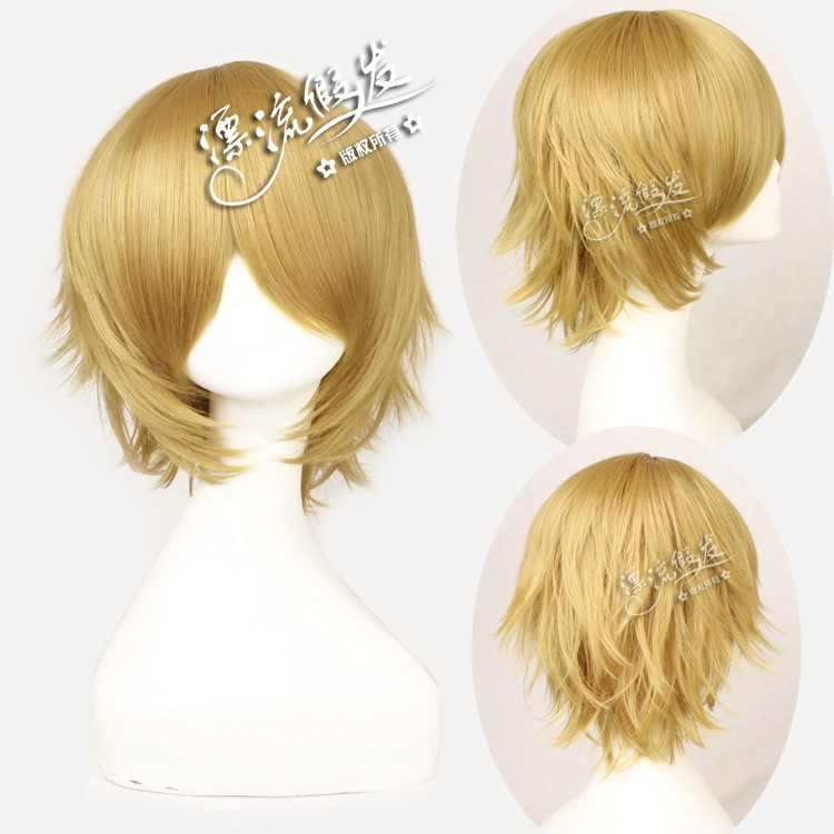 Danganronpa Togami Byakuya Cosplay Wigs for Man Boys Short Straight Brown Fake Hair Wig Anime Universal for Christmas Party