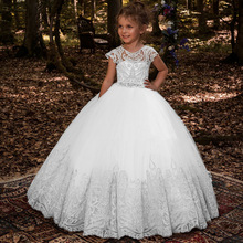 Flower-Girl-Dresses Princess-Dress Satin Puffy Kids Bow Bow-Shoulder Layers Hot-Selling