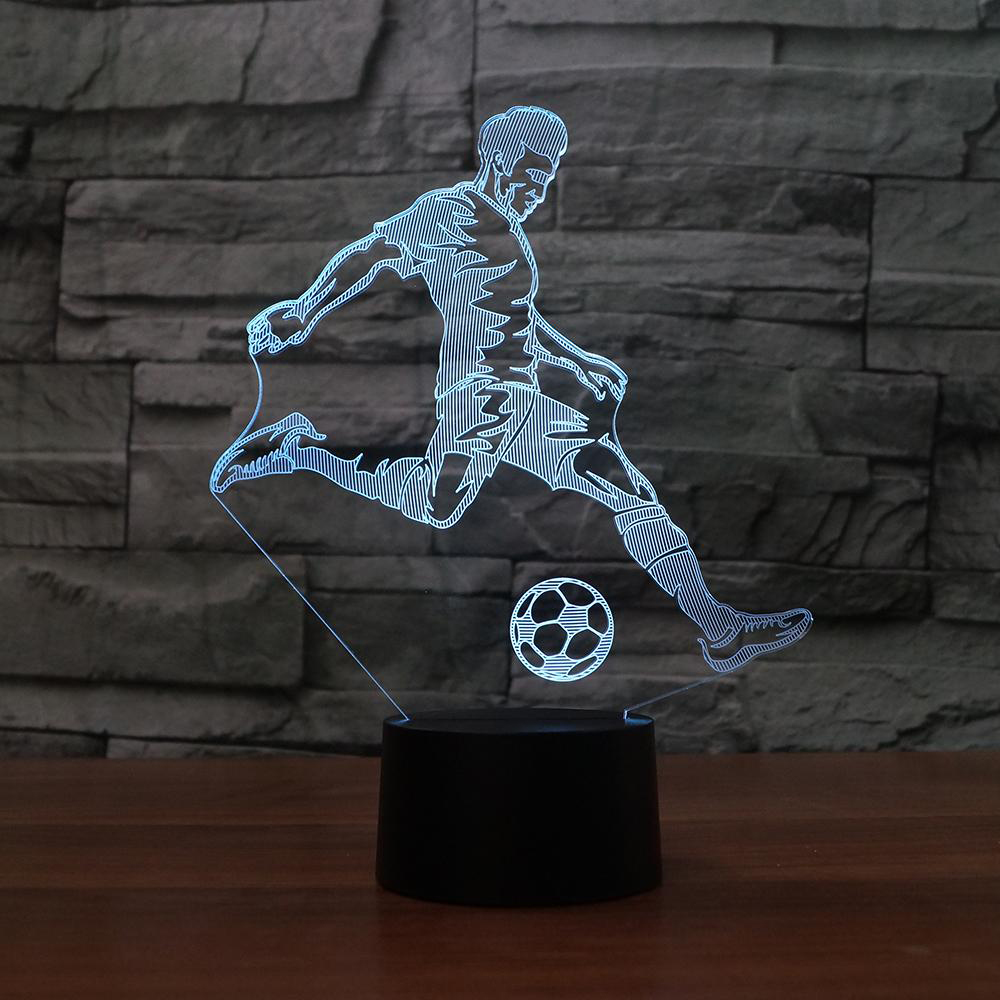 3D Led Table Lamp Kids Bedroom Bedside Sleep Playing Football Modelling Touch Button Usb Home Decor Soccer Player Night Lights wine cup bottle modelling 3d table lamp led 7 colorful acrylic night light xmas kids gifts sleep lighting bedroom bedside decor