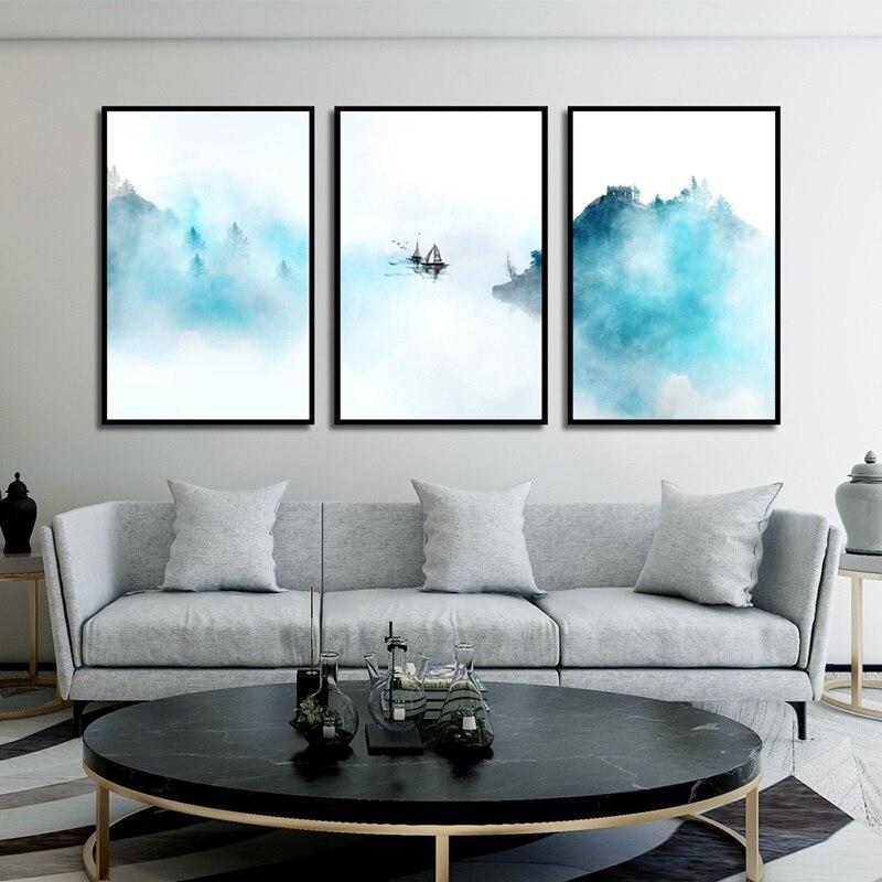 Chino acuarela lienzo pintura moderna casa decoración arte de la pared de dormitorio fotos paisaje abstracto carteles y huellas.