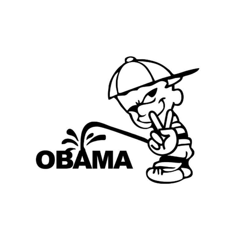 2x 2017 hot car styling funny bad boy v victory sign pee piss on anti obama car sticker for side door truck vinyl decal jdm in car stickers from automobiles
