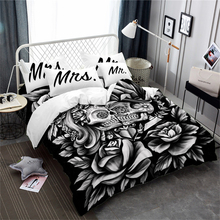 3D Bedding Set Rose Sugar Skull Duvet Cover Mr Mrs Print Pillowcase Halloween Valentines Day Couples Quilt 3Pcs