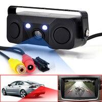 3 IN 1 Video Parking Sensor Car Reverse Backup Rear View Camera BiBi Alarm Indicator