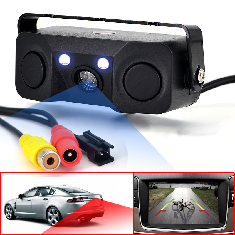3 IN 1 video Parking Sensor Car Reverse Backup Rear View Camera BiBi Alarm Indicator Anti Car Cam with 2 Radar Detector Sensors цены