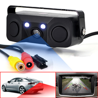 3 IN 1 Video Parking Sensor Car Reverse Backup Rear View Camera BiBi Alarm Indicator