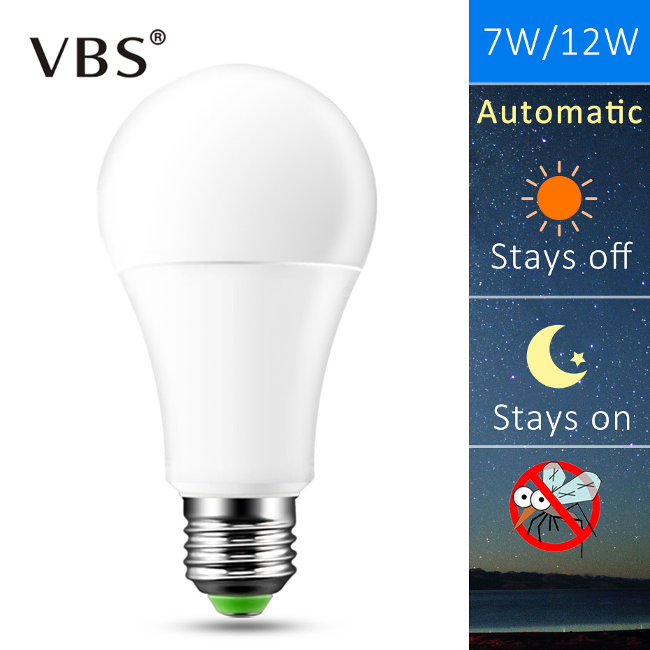 IP44 LED Sensor Bulb E27 B22 10W 15W AC 220V 110V Dusk To Dawn Light Bulb Day Night Light Sensor Lamp For Home Lighting