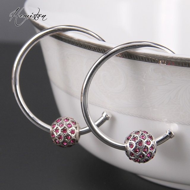 Thomas Red Fish Karma Bead Hinged Hoops Earrings, European TS-Style Jewelry, Valentine's Day Gift