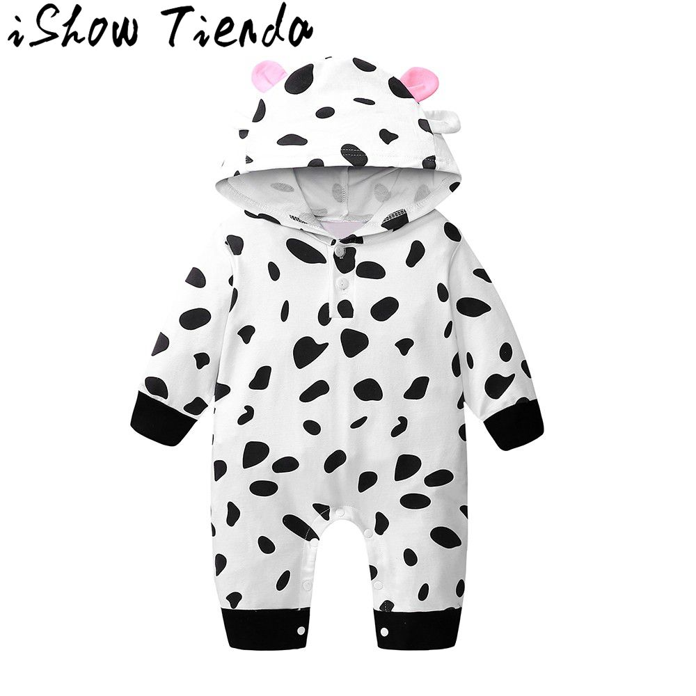 Baby Costume Fashion Newborn Toddler Baby Boys Girls Cow Print   Romper   Jumpsuit Hooded Outfits Clothes First birthday   Rompers