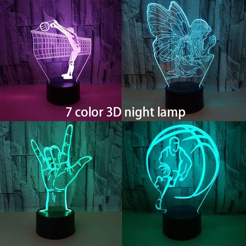 3D Led Loving Hand Gesture Modeling Table Lamp 7 Color Change USB Finger Heart Night Light Romantic Home Decor Lighting For Gift