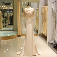 Champagne Mermaid Evening Dress 2018 Cape Style Full Beaded Satin Prom Dresses Long Party Gown Vestido de Fiesta SQ12