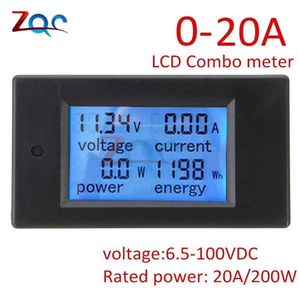 DC 6.5~100V 0~20A 4 In 1 Digital Voltmeter Ammeter Wattmeter Meter Voltage Current Power Energy Tester Large LCD Screen DC