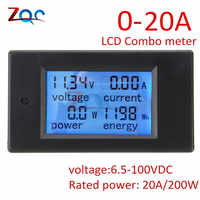 DC 6.5~100V 0~20A 4 in 1 Digital Voltmeter Ammeter Wattmeter Meter Voltage Current Power Energy Tester Large LCD Screen DC