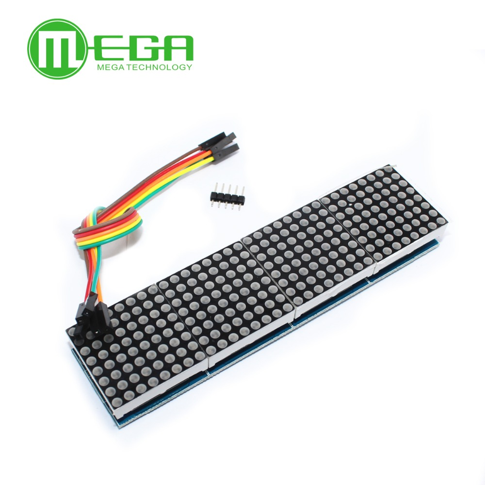 Image 3 - 1pcs MAX7219 Dot Matrix Module For Microcontroller 4 In One Display with 5P Line-in Integrated Circuits from Electronic Components & Supplies