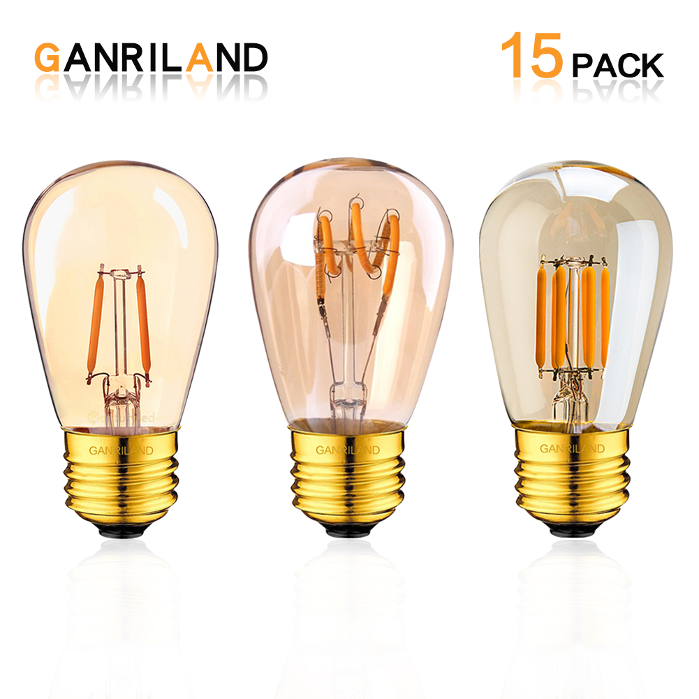 LED Filament Bulb ST45 1W 3W E27 Medium Base Warm 2200K Outdoor Waterproof LED String Light 10W Incandescent Replacement Bulb