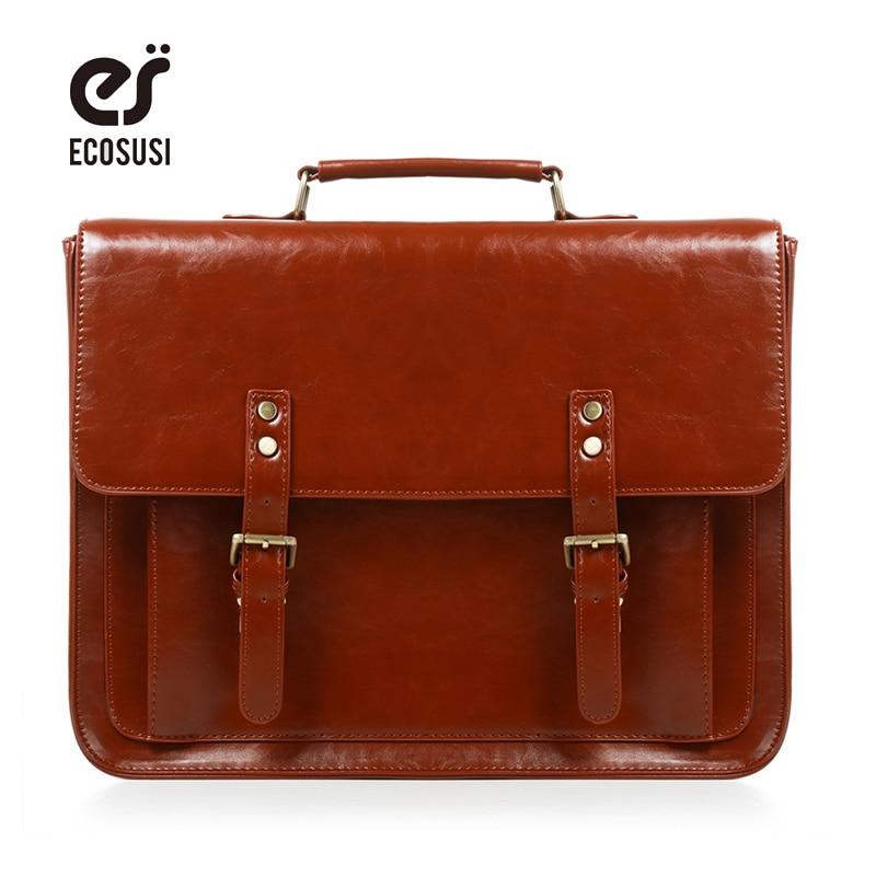 Ecosusi Vintage Frauen Umhängetasche Retro Satchel Taschen Weibliche Pu Leder Schule Bolsa Tasche Schulter Aktentasche Für Damen Gepäck & Taschen