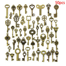 50pcs/lot Vintage Brass Metal Mixed Each Different Key Charms DIY Handmade Jewelry Decoration Key Pendant Charms(China)