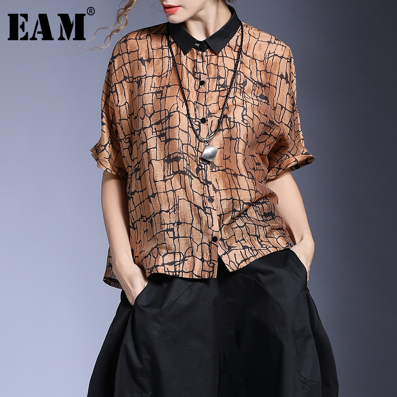 [EAM] 2018 New Summer Fashion Tide Short Sleeve Turn-down Collar Single Button Print Loose Big Size Woman Shirt Blouse S549 jones new york new pink women s size 12 split neck button down blouse $59