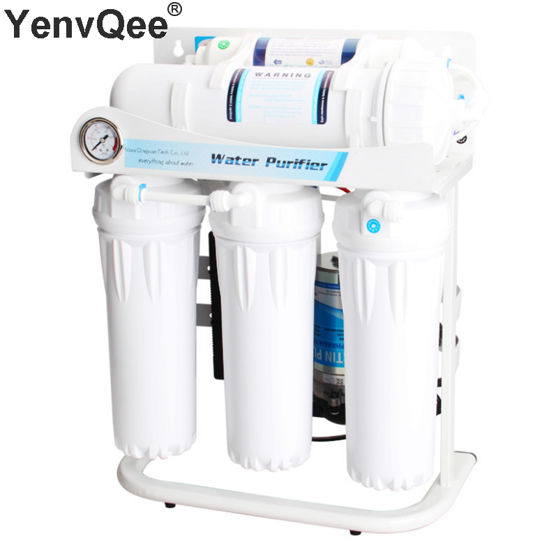 Household 5 Stages Water Purifier Filter Direct Drinking 400G Large Flow Reverse Osmosis System With Faucet Valve Water Pump Set (1)