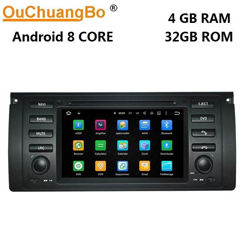 Ouchuangbo android 8.0 voiture audio GPS navigation radio pour X5 M5 E39 E53 avec lecteur DVD 1080 p vidéo 4 gb + 32 gb
