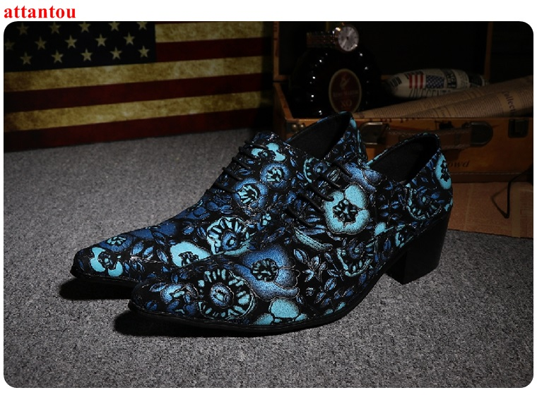 Lace Up Men's Leather Shoes Blue Embroider Pointed Toe Luxury Male Casual Single Shoes Man Office Meeting Feast Formal Shoes hot sale autumn silver pointed toe men dress shoes black leather luxury male casual shoes slip on man office feast formal shoes