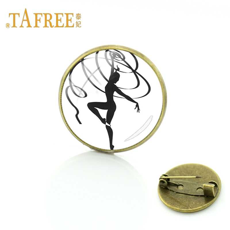 TAFREE Gymnastics moves Glass cabochon dome art picture Brooch sports lovers memorial brooch clothing accessories jewelry GY172