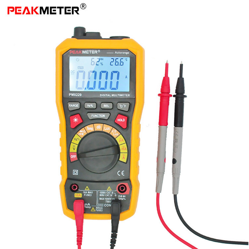 PEAKMETER MS8229 Digital LCD Multimeter 5 in 1 Illuminometer Sound Level Frequency Temperature Humidity Meter Voltage