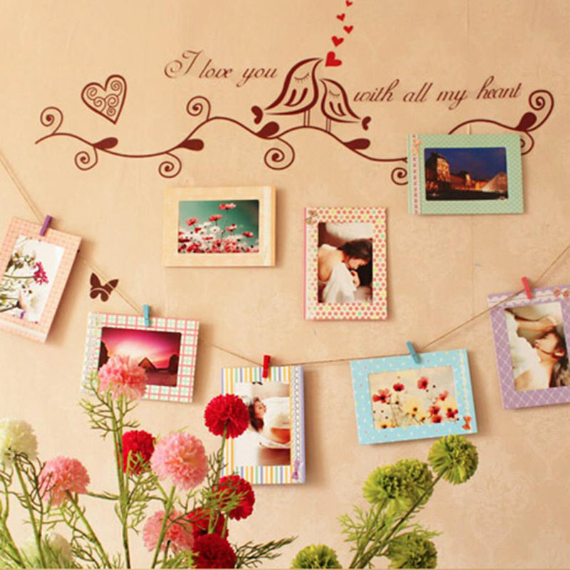 1x photo frame set 8pcs 6 hanging photo picture frames wood clips rope