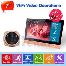 Wifi Video Doorphone Wireless Camera Doorbell 7 inch Peephole Viewer Night Vision + Motion Sensor + Take Photo + Record Video