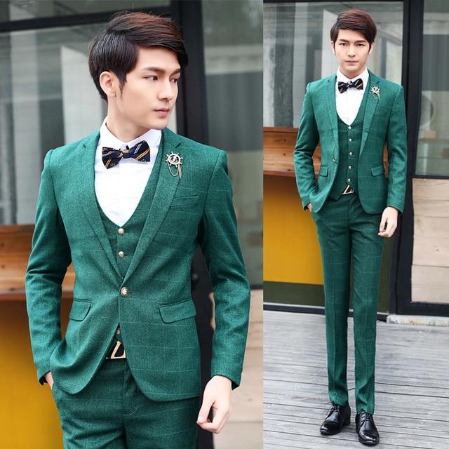 387fed5c2dcd British Business Suits( jacket+vest+pants )Brand Men Suits 2015 new design  casual plaid suits Slim Fit Mens wedding dress suits