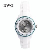 DWG Brand Silicone Strap Analog Quartz Movt Children Wristwatch Rhinestone Crystal Dial Buckle Child Watch Girl