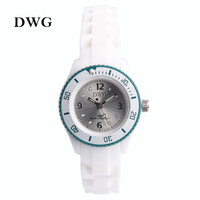 DWG Brand Silicone Strap Analog Quartz Movt Children Wristwatch Rhinestone Crystal Dial Buckle Child Watch Girl