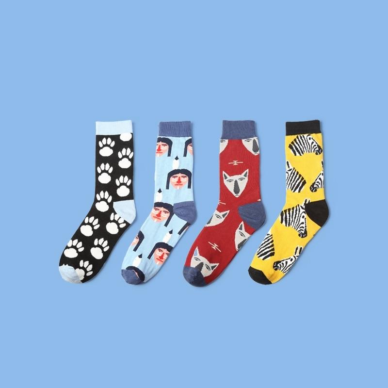 2017 men socks new arrival autumn winter 1pair men socks sweat-absorbent british style print long mens fashion cotton socks