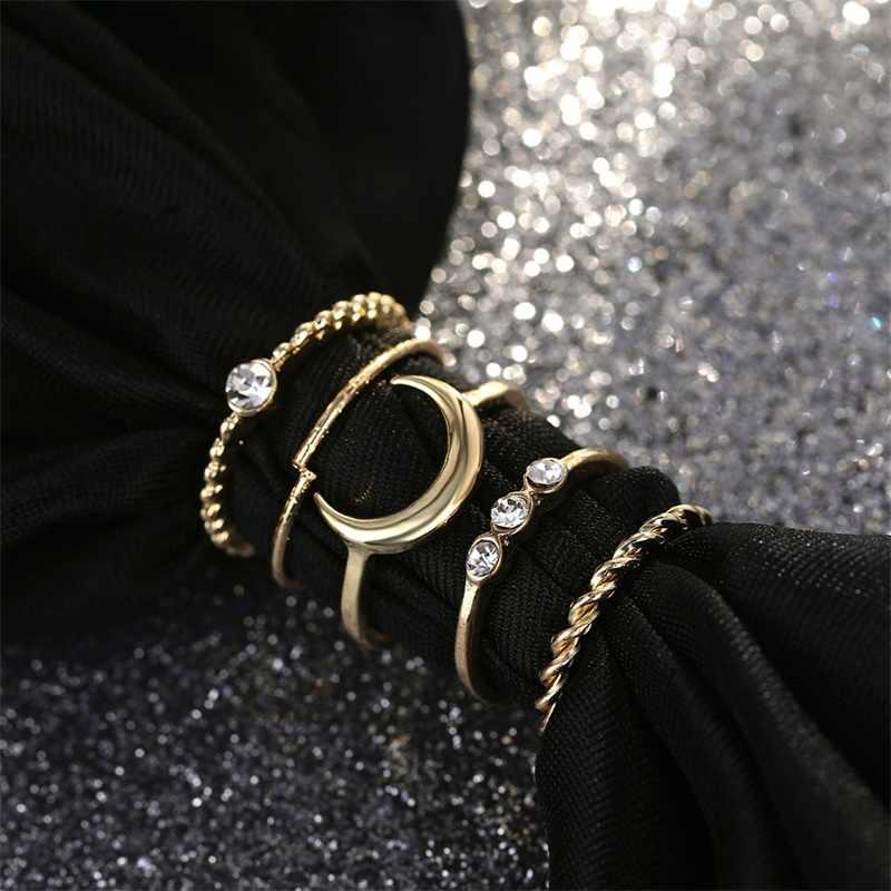 Краткое 5 шт./компл. CZ Кристалл Midi Кольца для женщин богемные украшения в виде Луны кольца для свадебной вечеринки Панк ювелирные изделия День Святого Валентина подарок anel