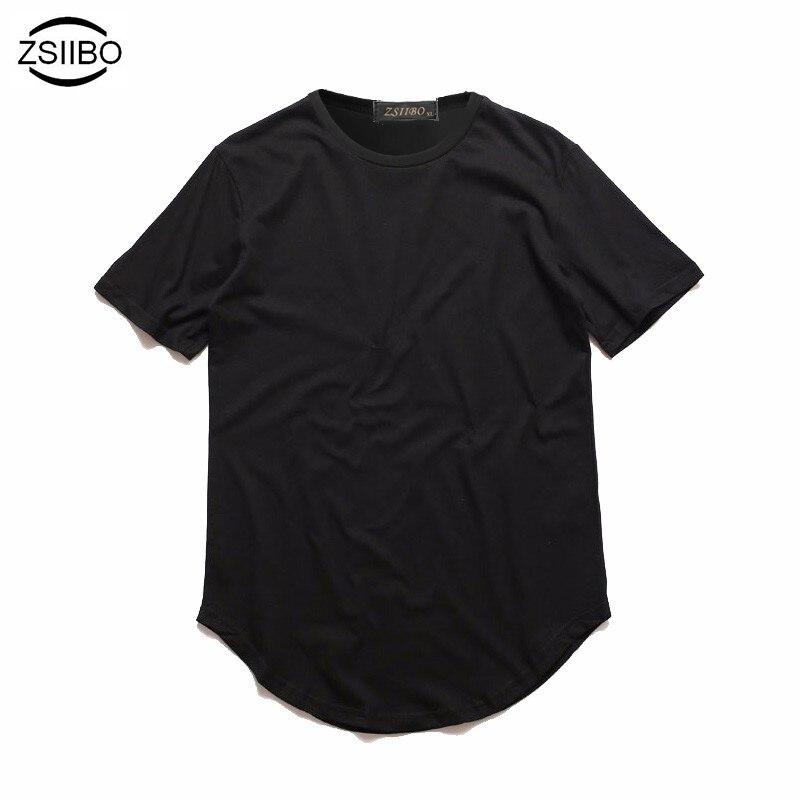 Мужская удлиненная футболка ZSIIBO, длинная футболка в стиле хип-хоп с закругленным краем, TX135-2