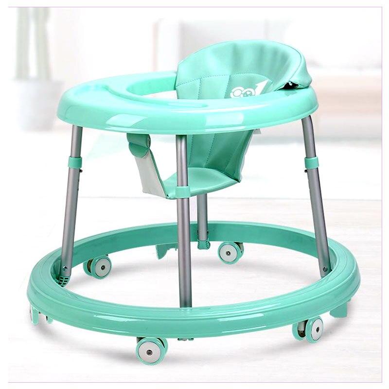 Ze stali nierdzewnej chodzik dla dzieci z koła gumowe 7-regulacja poziomu dziecko Anti-rollover nauka Walker asystent z hamulcem 6 ~ 18 M