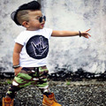 2017 New summer baby suit on the short sleeve T-shirt + camouflage suit children's clothing cotton baby clothes