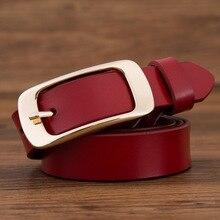 2019 fashion brand 100% genuine leather women belt metal pin