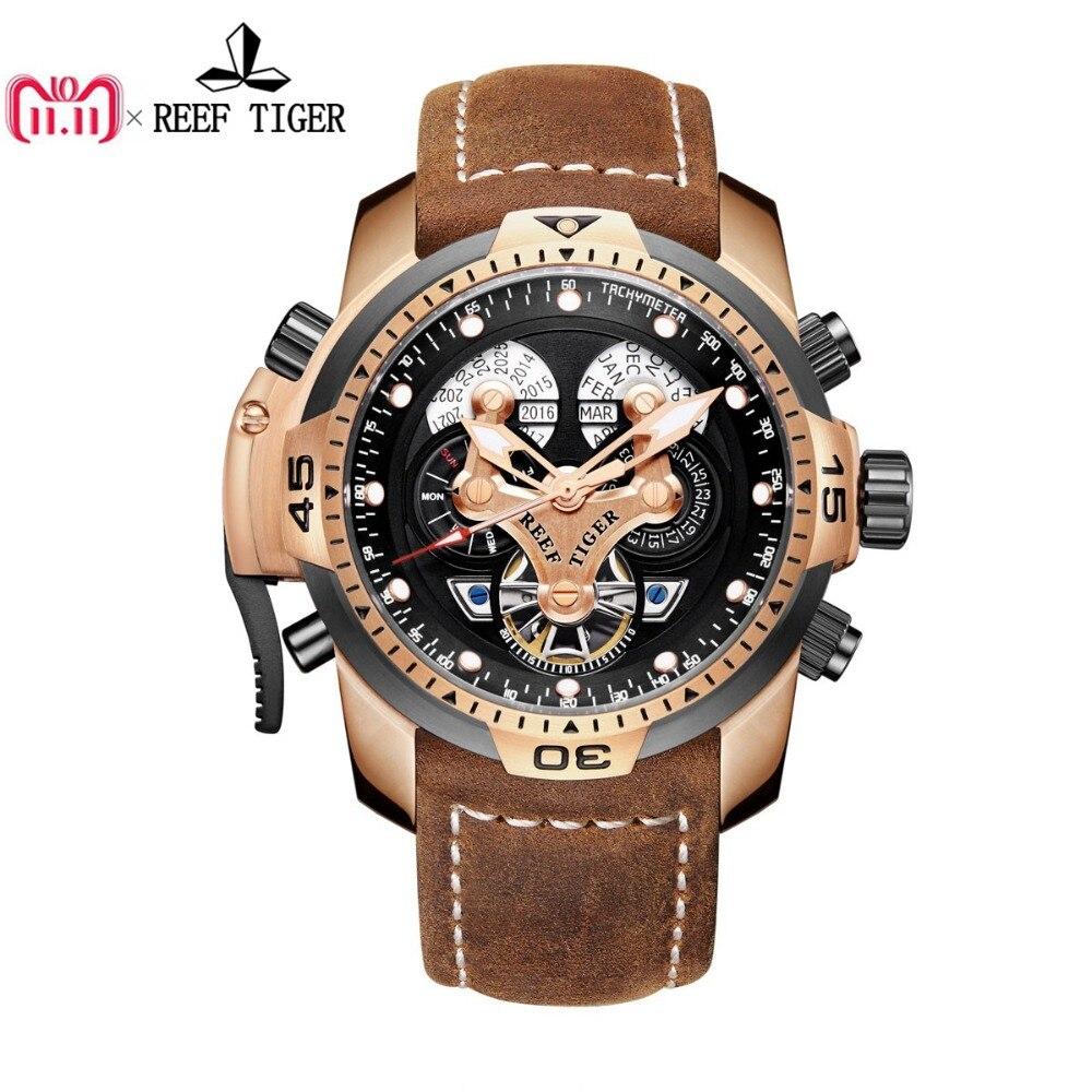 Arrecife de Tigre/RT militar relojes para hombres oro automático de muñeca relojes de correa de cuero marrón RGA3503