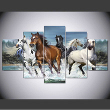 Hd Print Canvas Painting 5 Pieces Animal Horse Stick On The Wall For Living Room Home Decoration Modular Picture Framework