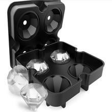 4 полости алмазной формы 3D формы для льда, вечерние силиконовые лотки, кухонная формочка для шоколада, инструмент 12,5x12,5x4,2 см C528