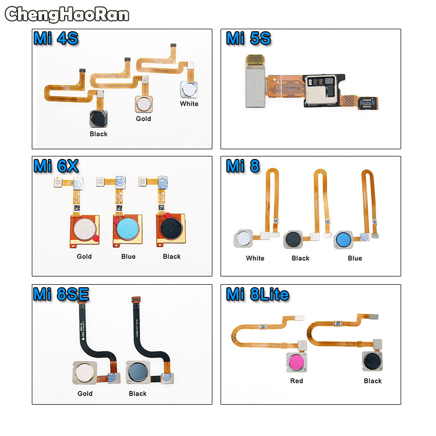 ChengHaoRan For Xiaomi Mi 4S 5S 6X 8 Lite 8SE Mi4s Fingerprint Sensor Scanner Touch ID Home Button Return Flex Cable Spare Parts