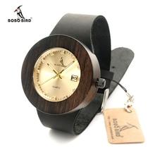 Bobo marca BIRD hombres y mujeres reloj de madera con cuero genuino de la correa de visualización del calendario de rol hombres Relogio Masculino relojes