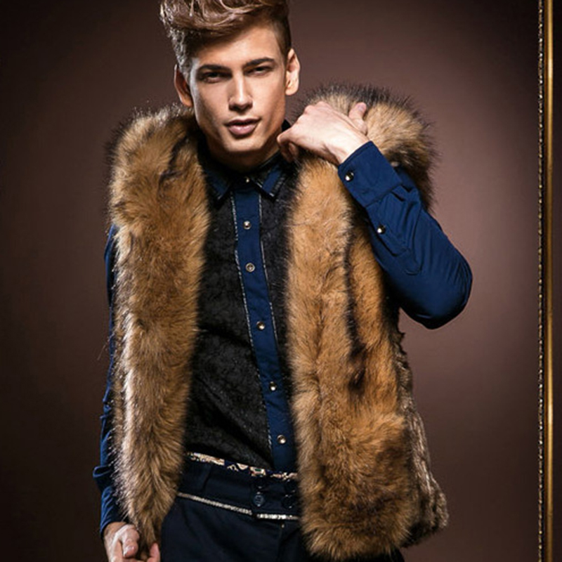 Winter Faux Fur Vest Men Vest Hoodies Jacket Winter Sleeveless Hooded Outerwear Slim Vest chaleco hombre